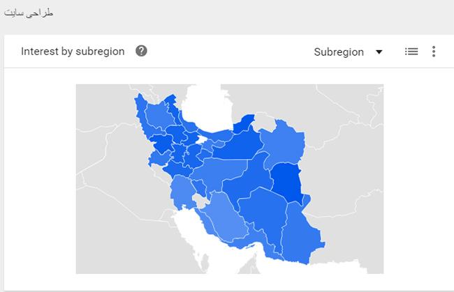 تحلیل نتایج گوگل ترند بر اساس مناطق جغرافیایی