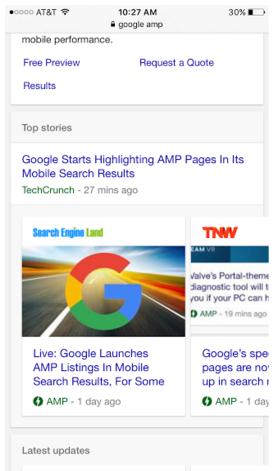 نحوه نمایش صفحات AMP در نتایج جستجوی گوگل