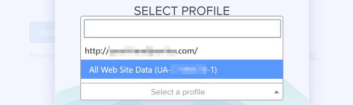 انتخاب پروفایل در گوگل آنالیتیکس