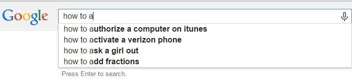 پیشنهادات گوگل برای کوئری های جستجو